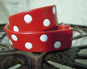 Red Leather Dog Collar with White Poka Dots