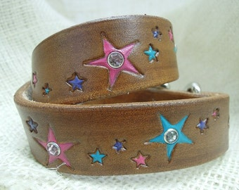 Leather Dog Collar with Stars and Rhinestones