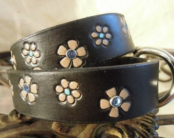 Black  Leather Collar with Beige Flower and Blue Rhinestones