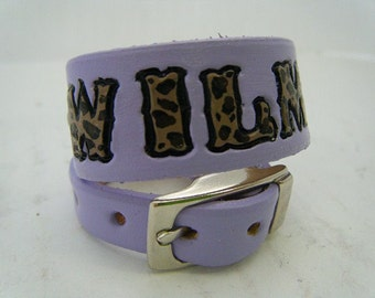 Lavender Leather Dog Collar with Leopard Print Letters and Hearts