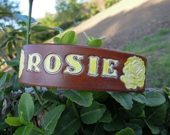 Yellow Rose Personalized Leather Collar