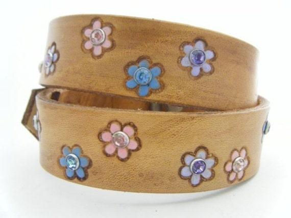 Custom Leather Dog Collar with Colorful Rhinestones