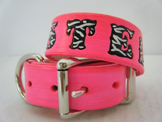 Hot Pink Leather Dog Collar with Zebra Print Letters and Hearts