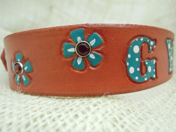 Red Leather Dog Collar with Turquoise Poka Dot Letters