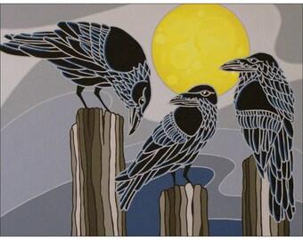 An Unkindness of Ravens Original Artwork Magnet