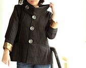Pinstriped Jacket with golden satin lining - size S
