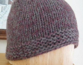 Handknit Cap in Wool and Mohair Subtle Gray and Burgundy FREE US Shipping
