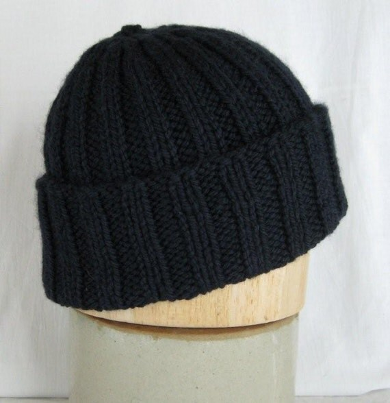 Hat - Handknit Navy Blue Watchcap in Wool, Silk, and Cashmere FREE US shipping