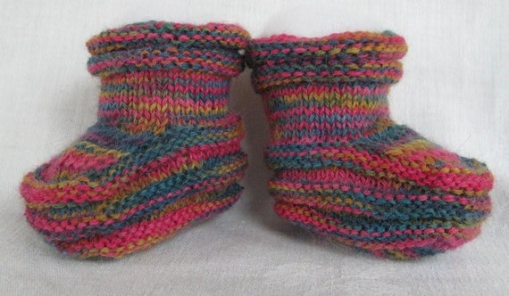 Baby Booties Handknit in Alpaca Blend Yarn - Baby Luxury - FREE US Shipping