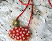 OOAK Needle Felted Aminita Muscaria mushroom necklace