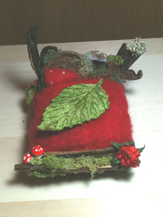 OOAK Fairy or gnome bed red mushrooms, crystal geode  and needle felted strawberry Waldorf