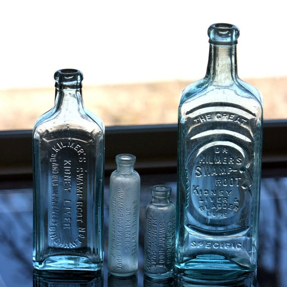 Instant Collection of Dr Kilmer's Swamp Root Kidney and Bladder Cure Remedy Bottle Lot of 4 bottles
