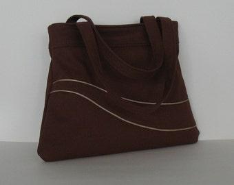 Cotton handbag , Shoulder bag in rich rust color , teacher bag , teacher gift , women handmade handbag , fabric bag , vegan day bag