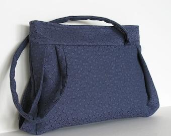 Vegan shoulder bag , handmade handbag in indigo blue , fabric purse , fabric shoulder bag , work bag , blue handbag made in Canada