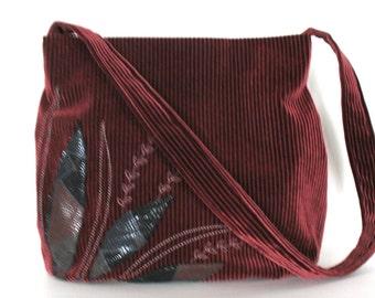 Corduroy handbag , Shoulder bag ,.Embellished corduroy side bag in burgundy , Fabric purse , Hobo bag , Women handmade handbag , Hobo bag
