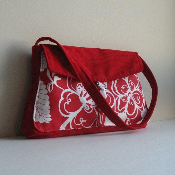 Red summer purse , Floral corduroy handmade handbag