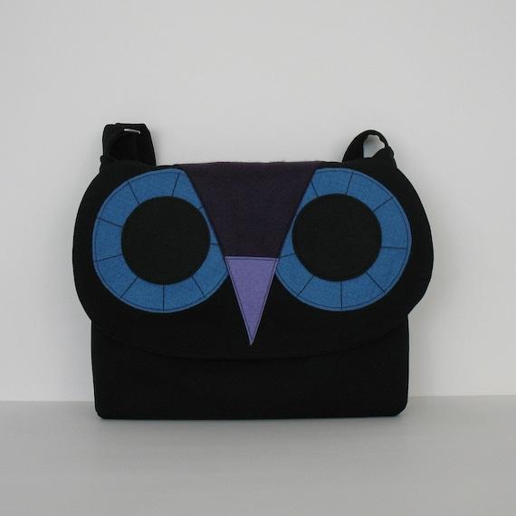 Owl messenger bag in black - denim crossbody bag - cotton school bag