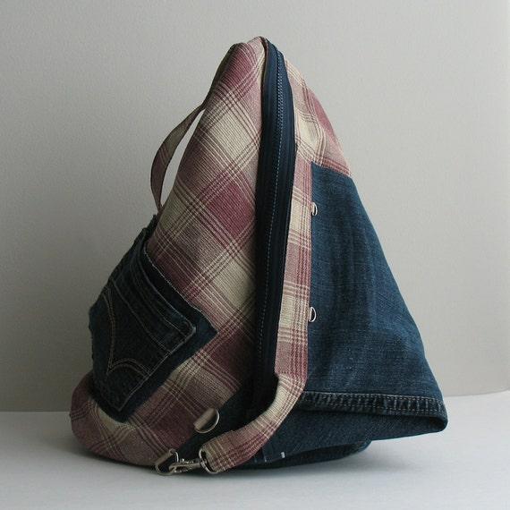 Recycled denim backpack - Eco friendly school backpack - Back to school bag