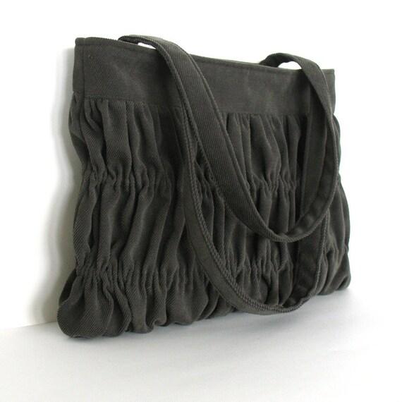Gathered handbag - crinkled shoulder handbag in  avocado green - sisoi handbag