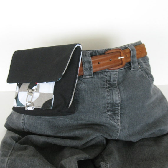 Belt bag - black  canvas waist bag - cotton fanny pack - small pouch - fabric hip bag - bum bag , teens gift ,gift for girls