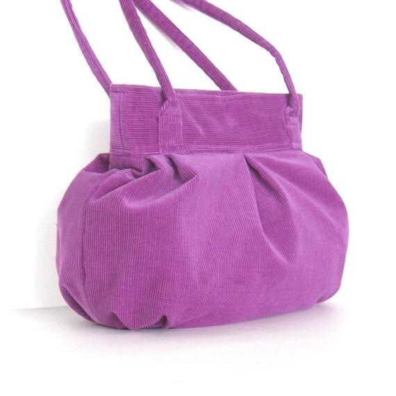 Pleated bag ,  cute purple corduroy purse ,vegan handmade handbag , girls fashion bag in fuchsia