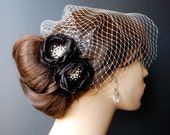 Black Wedding Sash Accessory -  Bridal Hair Flowers - Wedding Accessories 2 Piece Set Shoe Clips - Black Petals