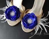 Royal Blue Feather Flower Sash Accessory, Bridesmaid Hair Flowers, Blue Bridal Shoe Clips  - Hair Flowers 2 Piece Set - Royal Blue Flutters