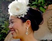 Wedding Accessories, Bridal Hat, Wedding Hair Piece, Vintage Inspired Bridal Ivory Floral Fascinator Headpiece, Wedding Hat