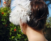 Wedding Hair Comb, Bridal Headpiece, Wedding Hair Accessories, Bridal Feather Fascinator, Wedding Hair Comb - Romantic Juliet