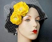 Wedding Hair Flowers, Wedding Accessories, Yellow Hair Piece, Bridal Headpiece, Sash Accessories 2 Piece Set - Vibrant Yellow Blooms