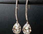 Wedding Earrings, Bridal Chandelier Swarovski Crystal Cubic Zirconia Drop Earrings, Wedding Jewelry  - Decadence