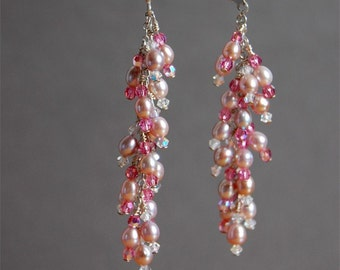 Clearance Bridesmaid Gift, Divine Pink Freshwater Pearl and Sterling Silver Earrings