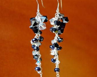 Ebony and Crystal Earrings With Swarovski Crystals And Goldstone