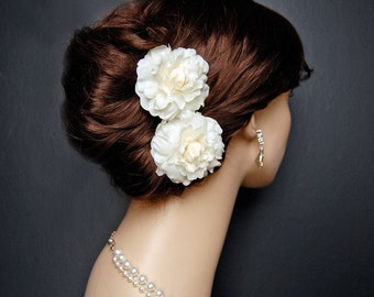Wedding Hair Flowers, Retro Bridal Accessories, Wedding Headpiece, Bridal Hair Clips, Bridal Hair Flowers - The Mini's 2 Piece Set