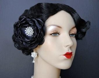 Wedding Hair Flower, Wedding Accessories, Black Hair Flower, Wedding Hair Clip, Fascinator - Delicate Charlotte In Black
