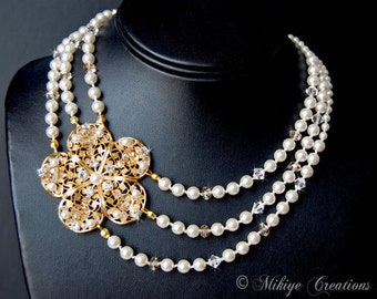 Bridal Necklace, Wedding Jewelry, Wedding Accessories, Triple Strand White Pearl, Swarovski Crystals and Gold Filigree Necklace - Miranda