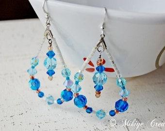 Drop Hoop Blue Earrings, Chandelier Swarovski Crystal Earrings Blue Drops
