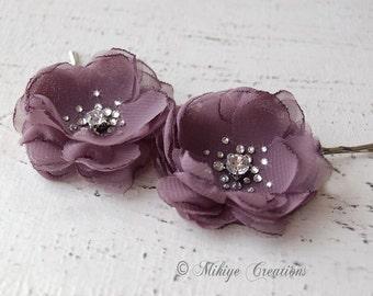 Flower Girl Bridesmaid Hair Flowers, Wedding Hair Piece,  Bridal Mini Mauve Hair Flower Bobby Pins - Christie in Mauve