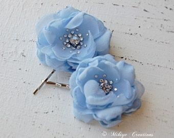 Flower Girl Bobby Pins, Bridesmaid Hair Flowers, Wedding Mini Light Blue Hair Flower Bobby Pins - Christie in Sky Blue