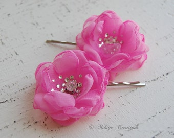 Pink Bridesmaid Flowers, Flower Girl Hair Pins,  Wedding Accessories - Wedding Mini Hair Flower Bobby Pins - Christie in Bubble Gum Pink
