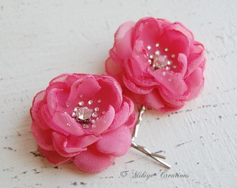 Wedding Bridesmaid Hair Flowers, Flower Girl Hair Pins,  Wedding Mini Hair Flower Bobby Pins, Christie in Rose