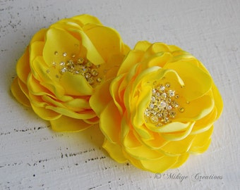 Wedding Hair Flowers, Bridal Accessories,  Bridesmaid Hair Clips, 2 Piece Set - Vibrant Yellow Petals