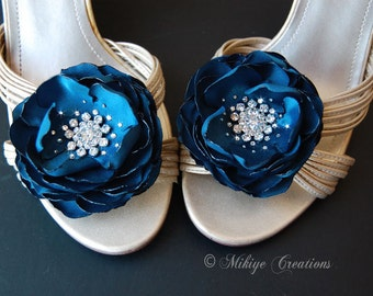 Wedding Bridesmaid Hair Flower,  Shoe Clips, Teal Sash Accessory,  2 Piece Set Peacock Teal Petals