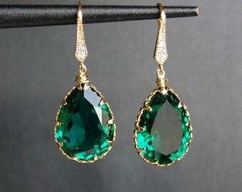 Bridesmaid Earrings, Bridal Jewelry, Maid of Honor Earrings, Emerald Swarovski Crystal Earrings - E106