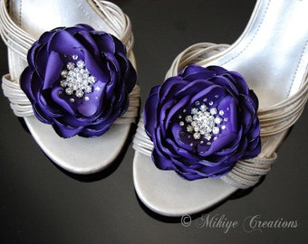 Wedding Shoe Clips,  Midnight Purple flowers, Bridesmaid Hair Flowers - Wedding Sash Accessory 2 Piece Set Midnight Purple Petals