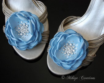 Wedding Shoe Clips - Baby Blue Bridesmaid Hair Flowers - Wedding Sash Accessory 2 Piece Set Baby Blue Petals