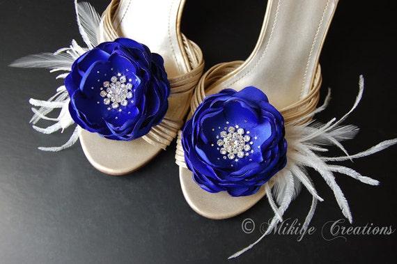 Royal Blue Feather Flower Sash Accessory, Bridesmaid Hair Flowers, Blue Bridal Shoe Clips  - Hair Flowers 2 Piece Set - Royal Blue Flutters
