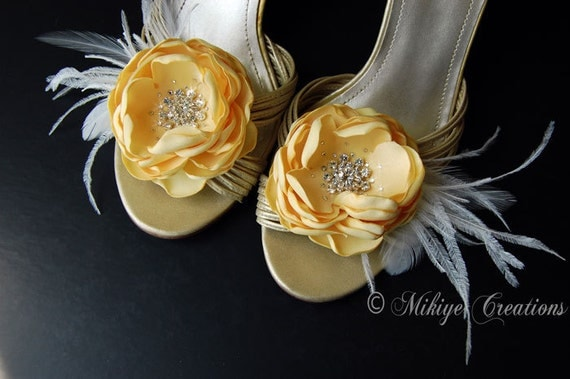 SALE - Bridal Shoe Clips - Wedding Accessories - Hair Flowers 2 Piece Set - Butter Yellow Flutters