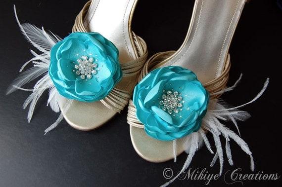 tiffany blue wedding shoe clips