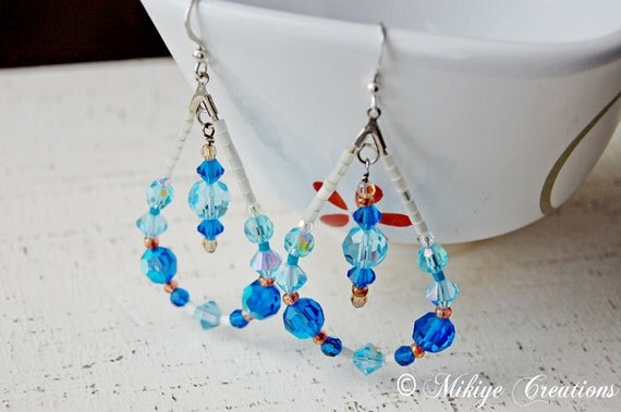 Drop Hoop Blue Earrings, Chandelier Swarovski Crystal Earrings Blue Drops